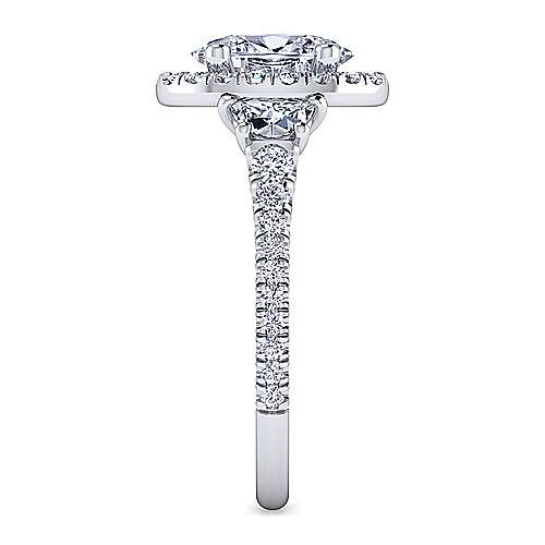 Platinum Oval Halo Engagement Ring angle 5