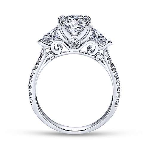 Platinum Oval Three Stone Diamond Engagement Ring
