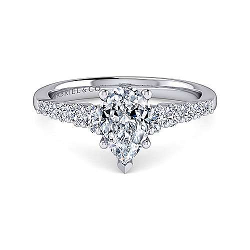 Platinum Pear Shape Diamond Engagement Ring