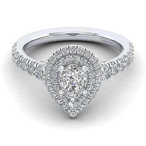 Platinum Pear Shape Double Halo Diamond Engagement Ring