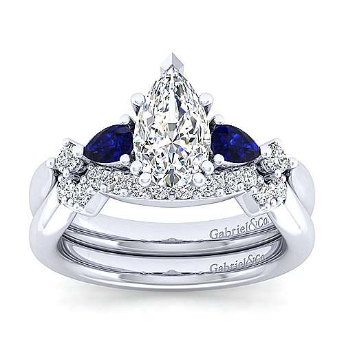 Platinum Pear Shape Five Stone Sapphire and Diamond Engagement Ring