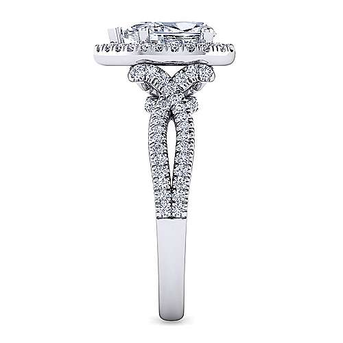 Platinum Pear Shape Halo Diamond Engagement Ring