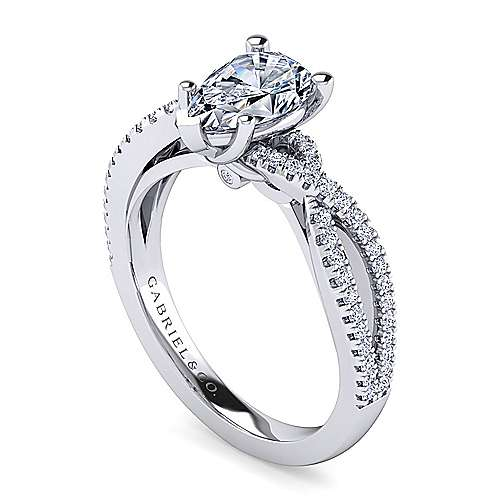 Platinum Pear Shape Twisted Diamond Engagement Ring
