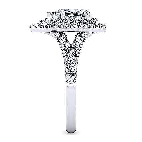 Platinum Pear Shaped Double Halo Diamond Engagement Ring