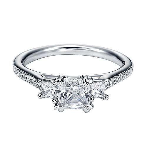Platinum Princess Cut 3 Stones Engagement Ring angle 1