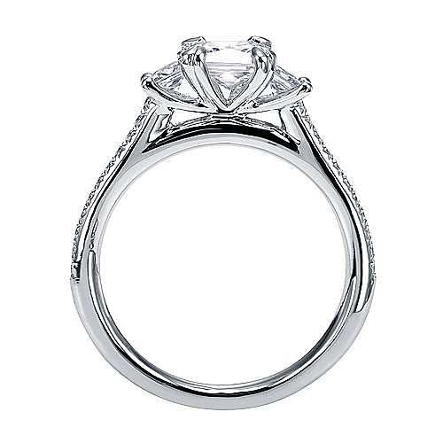 Platinum Princess Cut 3 Stones Engagement Ring angle 2