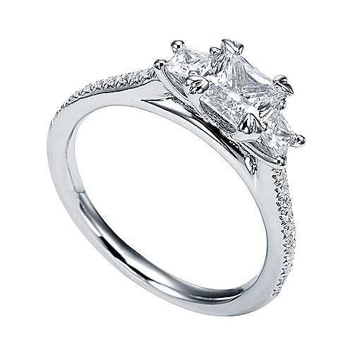 Platinum Princess Cut 3 Stones Engagement Ring angle 3