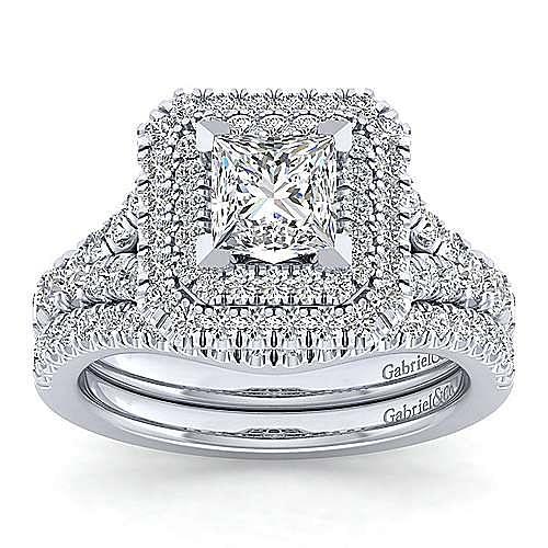Platinum Princess Cut Double Halo Diamond Engagement Ring