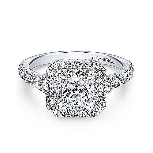 Gabriel - Platinum Princess Cut Double Halo Engagement Ring
