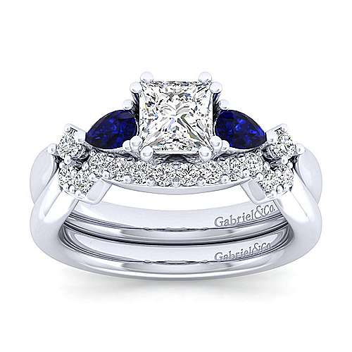Platinum Princess Cut Five Stone Sapphire and Diamond Engagement Ring