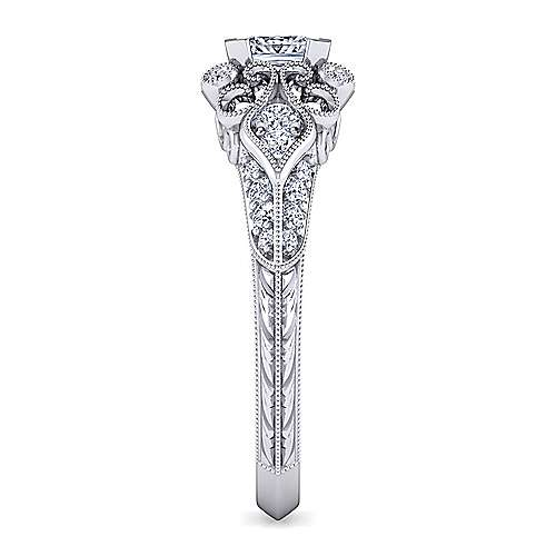 Platinum Princess Cut Halo Engagement Ring angle 5