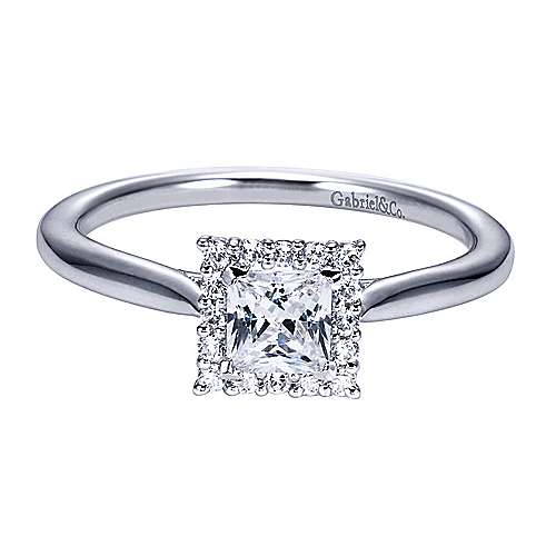 Gabriel - Platinum Princess Cut Halo Engagement Ring