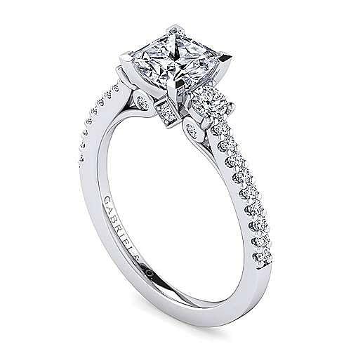 Platinum Princess Cut Three Stone Diamond Engagement Ring