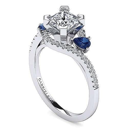Platinum Princess Cut Three Stone Sapphire and Diamond Engagement Ring