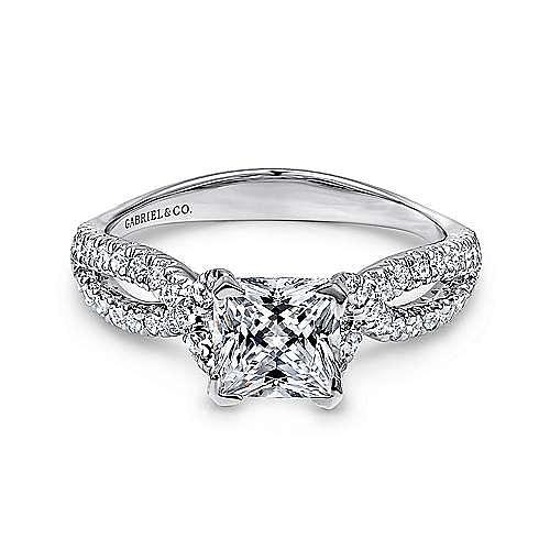 Platinum Princess Cut Twisted Diamond Engagement Ring