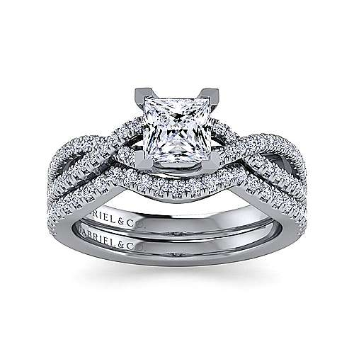 Platinum Princess Cut Twisted Diamond Engagement Ring