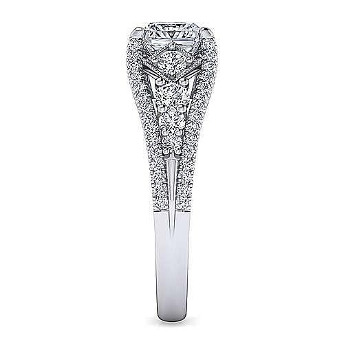 Platinum Princess Cut Wide Band Diamond Engagement Ring
