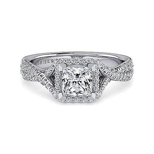 Platinum Princess Halo Diamond Engagement Ring