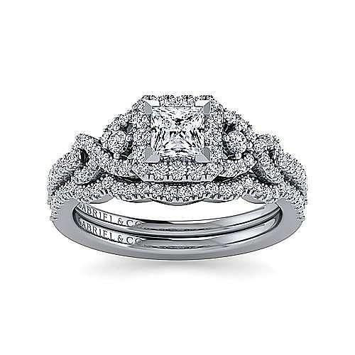 Platinum Princess Three Stone Halo Diamond Engagement Ring