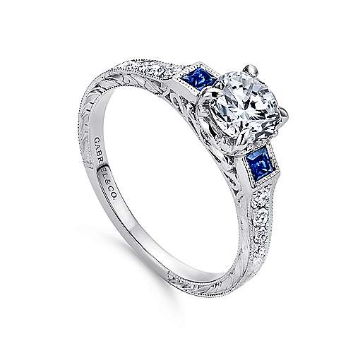 Platinum Round 3 Stones Engagement Ring angle 3