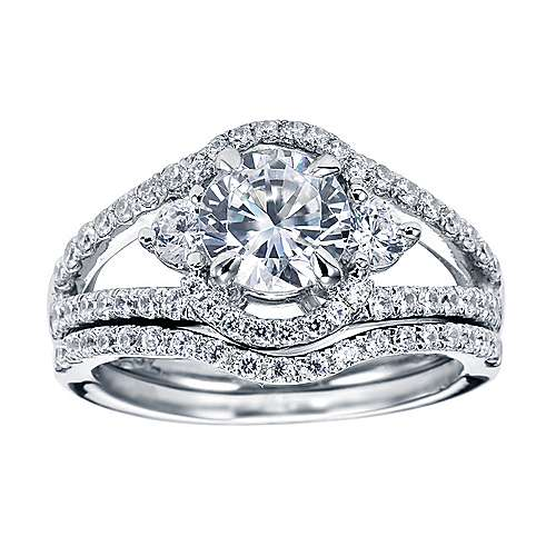 Platinum Round 3 Stones Engagement Ring angle 4