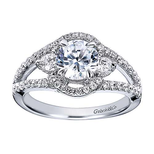 Platinum Round 3 Stones Engagement Ring angle 5