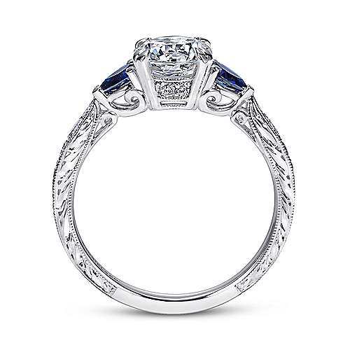 Platinum Round 3 Stones Engagement Ring angle 2