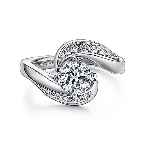 Platinum Round Bypass Diamond Engagement Ring