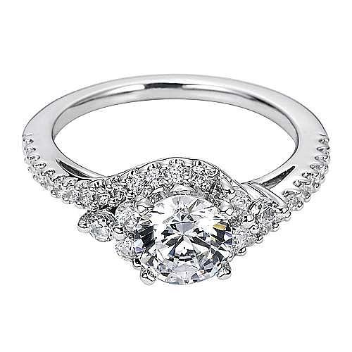 Platinum Round Bypass Engagement Ring angle 1
