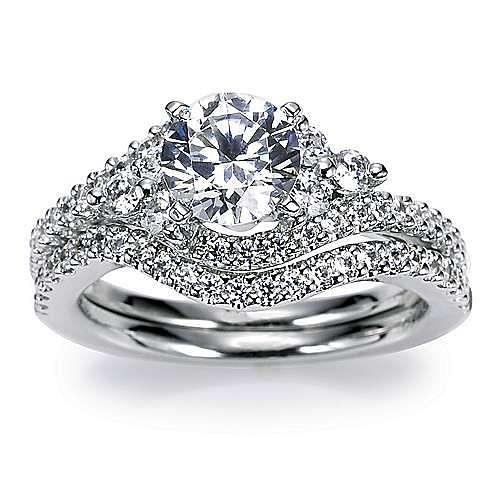 Platinum Round Bypass Engagement Ring angle 4