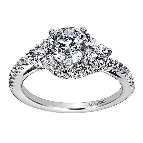 Platinum Round Bypass Engagement Ring angle 5