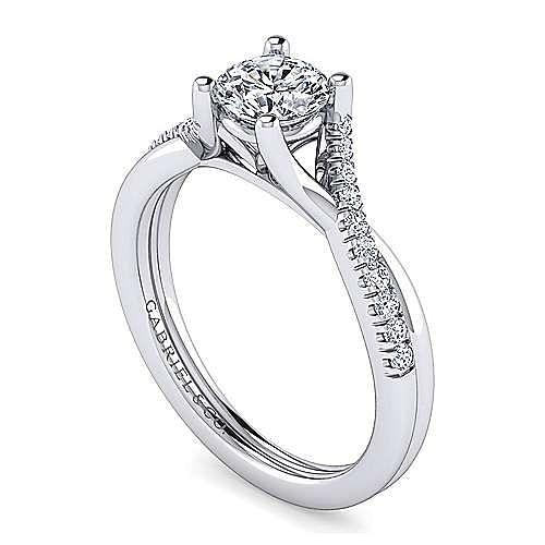 Platinum Round Diamond Twisted Shank Engagement Ring
