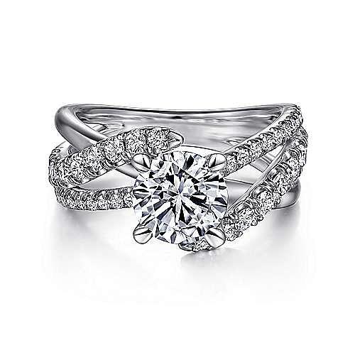 Platinum Round Free Form Diamond Engagement Ring