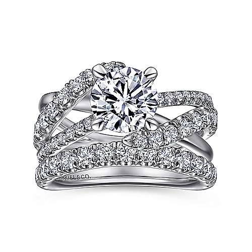 Platinum Round Free Form Diamond Engagement Ring