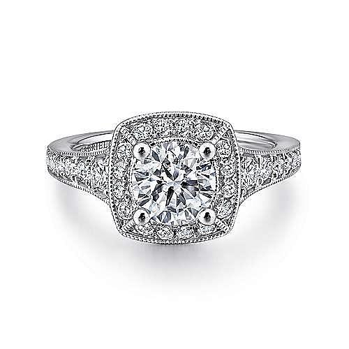 Platinum Round Halo Diamond Engagement Ring