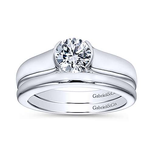 Platinum Round Solitaire Engagement Ring angle 4