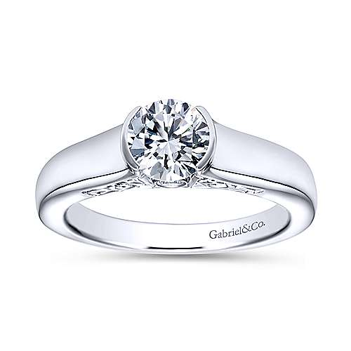 Platinum Round Solitaire Engagement Ring angle 5