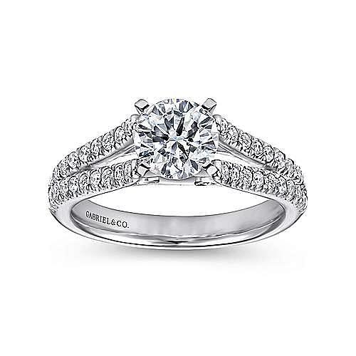 Platinum Round Split Shank Diamond Engagement Ring