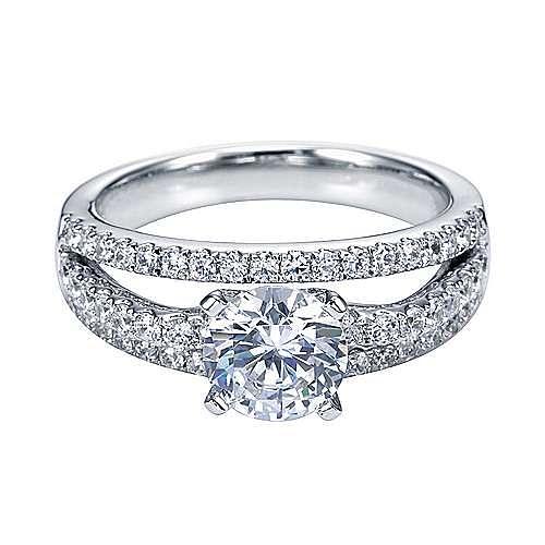 Platinum Round Split Shank Engagement Ring angle 1