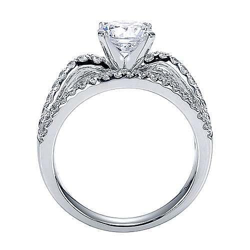 Platinum Round Split Shank Engagement Ring angle 2