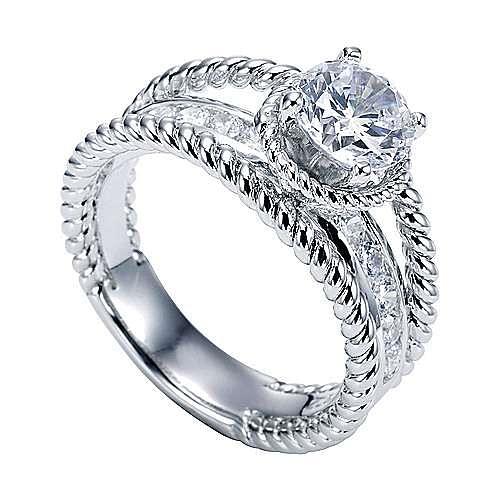 Platinum Round Split Shank Engagement Ring angle 3
