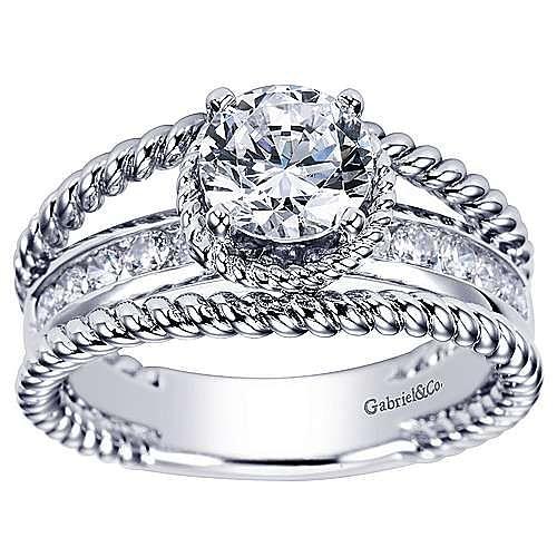 Platinum Round Split Shank Engagement Ring angle 5
