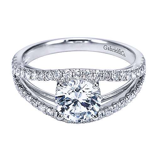 Gabriel - Platinum Round Split Shank Engagement Ring