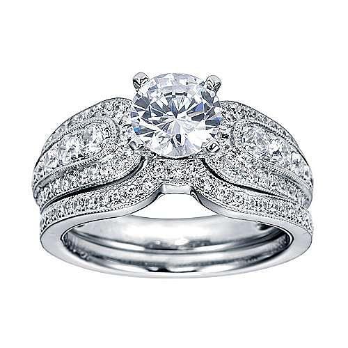 Platinum Round Straight Engagement Ring angle 4