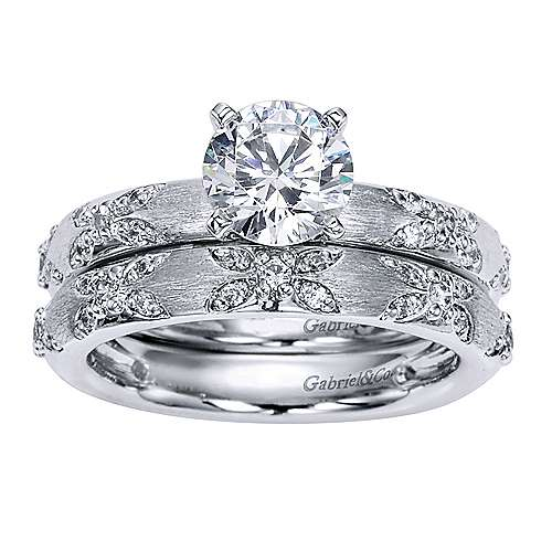 Platinum Round Straight Engagement Ring angle 4