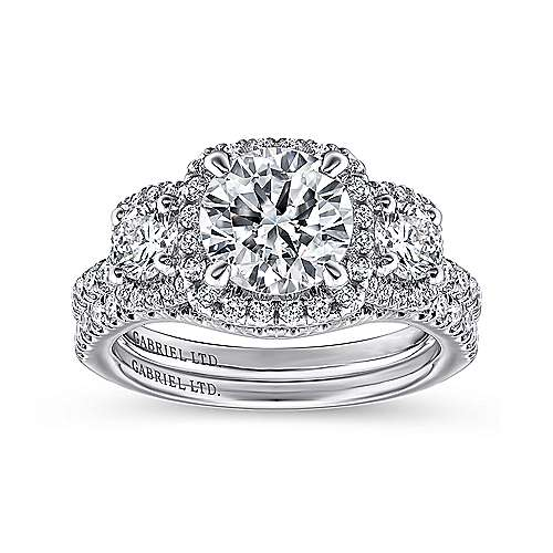Platinum Round Three Stone Halo Diamond Engagement Ring