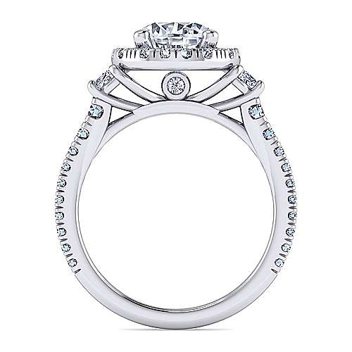 Platinum Round Three Stone Halo Diamond Engagement Ring