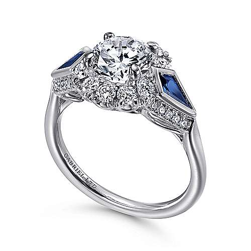 Platinum Round Three Stone Halo Sapphire and Diamond Engagement Ring