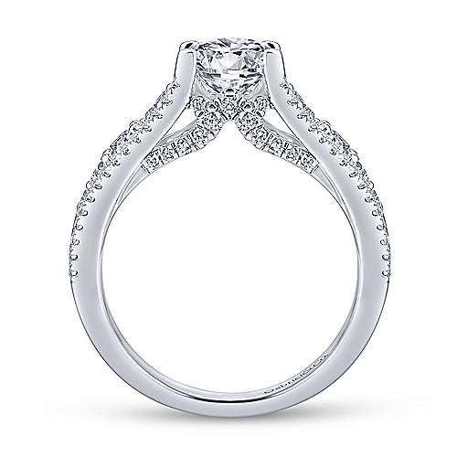Platinum Round Wide Band Diamond Engagement Ring