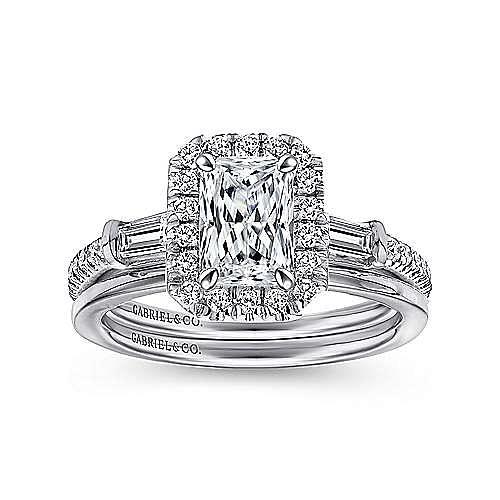 Platinum Three Stone Halo Emerald Cut Diamond Engagement Ring